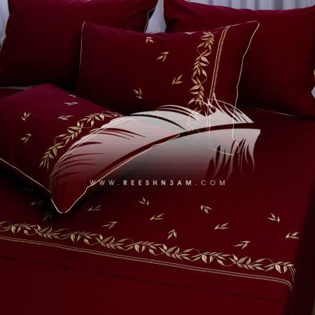 طقم سرير مطرز هاديء بخيوط الحرير
